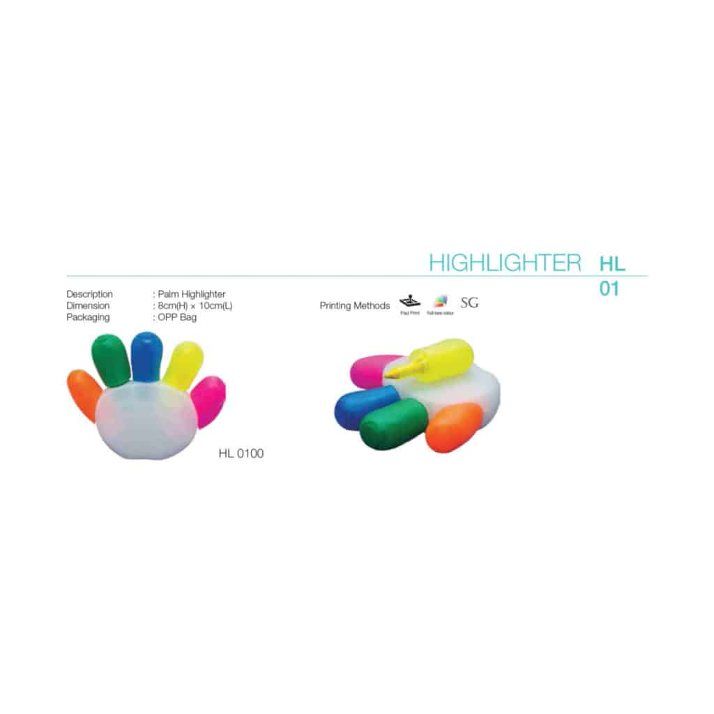 yellowinch.com.sg PALM-5-COLOR-HIGHLIGHTER-HL01-1024x1024 Stationery